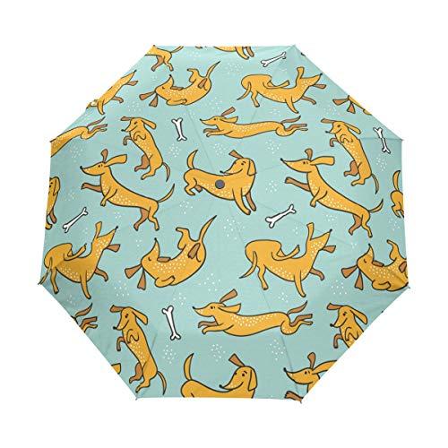 Faltbarer Reise-Regenschirm, Dackel, Hund, Kunst, Sonnenschutz, winddicht, regendicht, tragbar, automatischer Sonnenschirm
