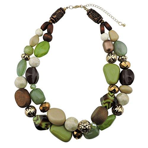 Bocar, collana con 2 file di perle sui toni del verde, collana di perline di moda da donna, ottima idea regalo e nichel, colore: Olive, cod. NK-10384