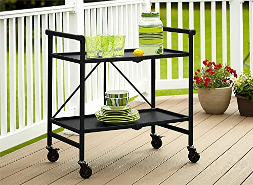 Cosco Outdoor Living INTELLIFIT Outdoor Or Indoor Folding 2 Shelves, Black Serving Cart