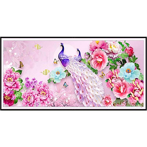 DIY 5D Diamond Painting Kits Large Full Drill Adults/Kids Rhinestone Puzzle Diamond Art Craft for Wall Decor Pavo real rosa 40x80cm Square Drill Q7785