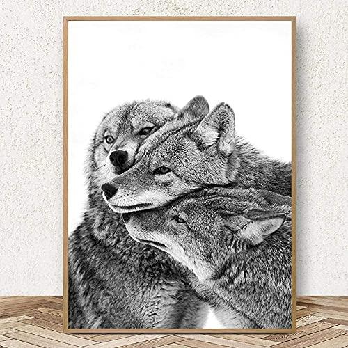XIAOMA Cuadro sobre lienzo blanco y negro de tres lobos, póster e impresiones de animales, para salón, decoración del hogar, sin marco del póster moderno (30 x 40 cm)