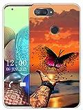 Sunrive Funda Compatible con Xiaomi Mi 8 Lite, Sunrive Silicona Slim Fit Gel Transparente Carcasa Case Bumper de Impactos y Anti-Arañazos Espalda Cover(X Mariposa)