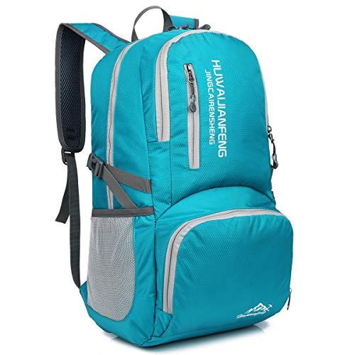 Crenze 35L Lightweight Foldable Backpack Travel Hiking Daypack, Men Women Durable Handy Waterproof Rucksack for Camping Mountaineering Walking Cycling Climbing (Light Blue)