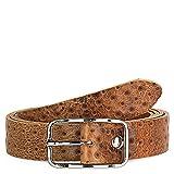 Jaslen - Cinturón de cuero piel genuina. Hebilla doble. Ancho de 40 mm. Cómodo...