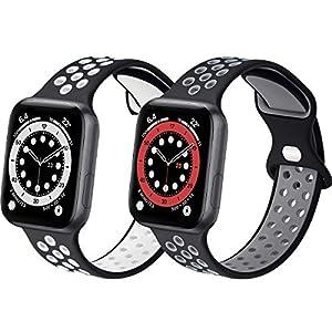 コンパチブル Apple Watch バンド, スポーツベルトシリコン 多空気穴通気性 防汗アップルウォッチバンドコンパチブル iWatch SE ,Series 6//5/4/3/2/1に対応 (42mm 44mmM/L, 黒/白+ブラック/ダークグレー)