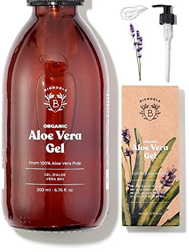 ALOE VERA GEL BIO | Pures Aloe Vera Fruchtfleisch 100% Rein mit Ätherisches Lavendelöl BIO | Ohne Pulver | Ohne Xanthan | Gesicht, Augenpartie, Körper, Haare | Glasflasche + Pumpe (200ml)