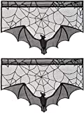 ANPHSIN 2 Pieces Halloween Black Lace Cobweb Spiderweb Bats Fireplace Mantles Scarf Valances Covers for Halloween Door Window Decorations, Halloween Party Supplies