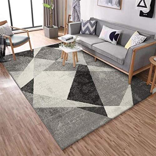 Home Alfombra Diseño Moderna Alfombra Alfombra Gris geométrica nórdica angustiada en Blanco y negro-80 * 160 CM para Alfombras Sala, Comedór Dormitorio, Fácil de Limpiar
