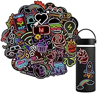 GrabMantra Waterproof Vinyl Stickers Pack for Laptop Water Bottle Party Supplies(50Pcs Neon Style) (K)