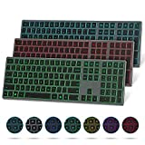 Bluetooth Keyboard with 7-Colors Backlit, seenda Rechargeable Slim Full Size BT Wireless Keyboard with Number Pad for...