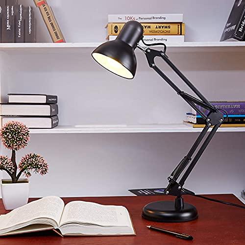 IUHUA Lámpara de Escritorio con Brazo y Cabezal oscilantes Ajustables, portalámparas de Tornillo E27, para Lectura Escolar, Trabajo, Manualidades de Oficina, Color Negro