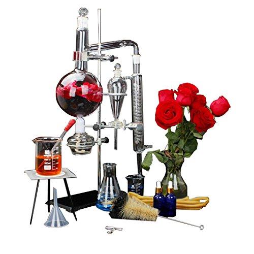New 1000Ml Lab Essential Oil Distillation Apparatus Water Distiller Purifier Glassware Kits W/Separatory Funnel Condenser Pipe
