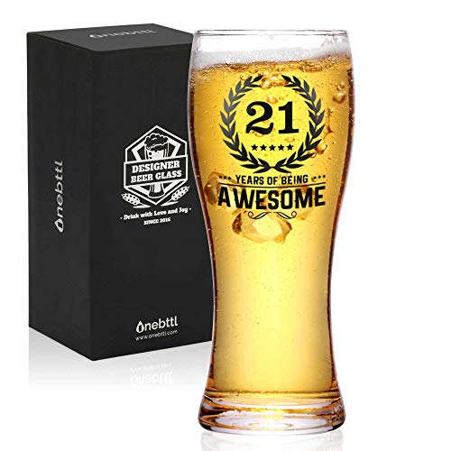 Onebttl 21st Birthday Gifts for Boys, Men or Him - 21 Years of Being Awesome - 450ml/15oz Beer Glass...