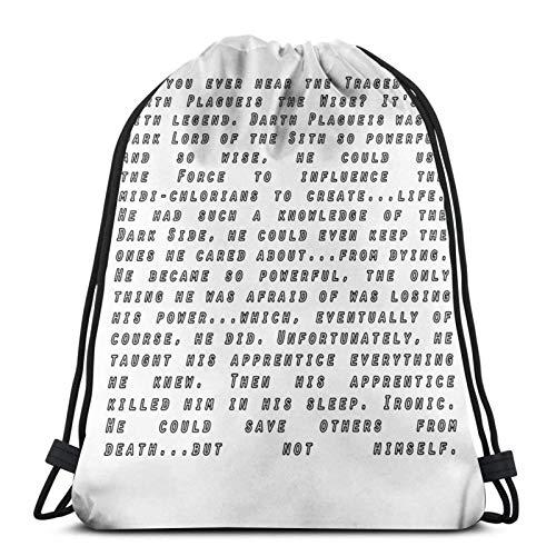 LREFON Haben Sie jemals die Tragödie von Darth Plagueis gehört? The Wise Sport Bag Gym Sack Kordelzug Rucksack Solid Cinch Pack