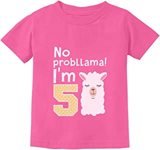 5 Year Old Girl Birthday Gift No Probllama Toddler Kids T-Shirt