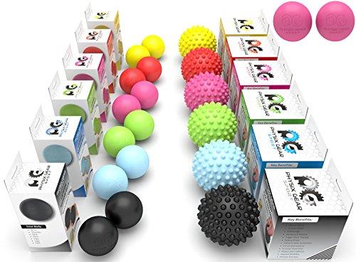 Physix Gear Sport Lacrosse Ball Set of 2 - Best Deep Tissue Massage Balls for Trigger Points, Plantar Fasciitis Neck & Back Pain - Roller for Rehab, Acupressure Foot Reflexology & Myofascial (PNK 2PK)