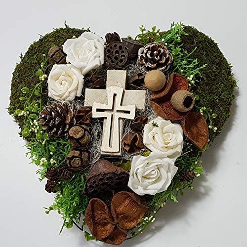 Der-kleine-Dekoladen Grabgesteck Totensonntag Herz Creme Exoten Kreuz Allerheiligen Grabschmuck