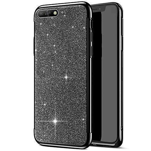Compatible avec Huawei Y6 2018 Coque,Placage Paillettes Brillante Bling Glitter de Luxe Strass Coque Silicone TPU Souple Ultra-mince Anti Choc Bumper Housse Etui Protection Huawei Y6 2018,Noir