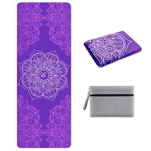 SKL Reise Yogamatte - Dünne, leichte, Faltbare und rutschfeste Matte für Yoga, Pilates, Fitness [181 cm x 67 cm / 1 mm]