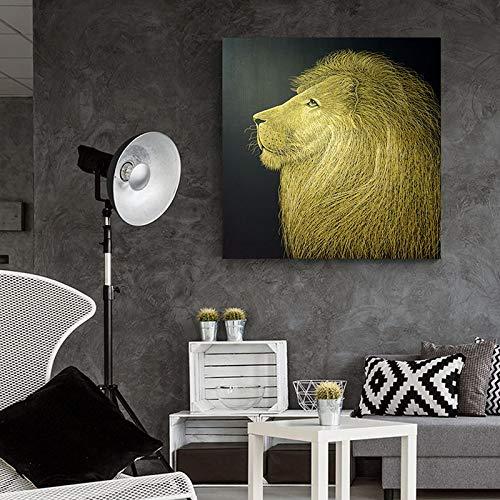 Rahmenlose Malerei Goldener Löwe abstrakte nordische Tier Leinwand Malerei Wand Wand Künstler Home DecorationZGQ2057 60X60cm