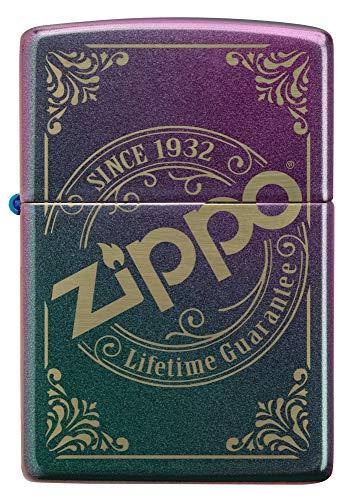ZIPPO – Sturmfeuerzeug, Zippo Logo, Laser Engraved, Iridescent, nachfüllbar, in hochwertiger Geschenkbox
