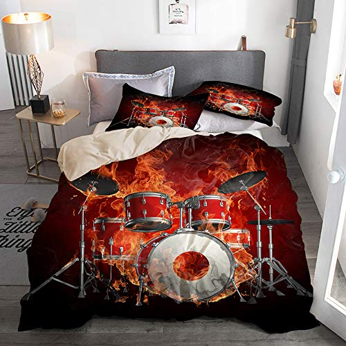PbbrTK Bettwäsche Set,Mikrofaser,Beige,Feuerschädel spielt Schlagzeug Rockschädel Coole Persönlichkeit,1 Bettbezug 240 x 260cm + 2 Kopfkissenbezug 50 x 80cm