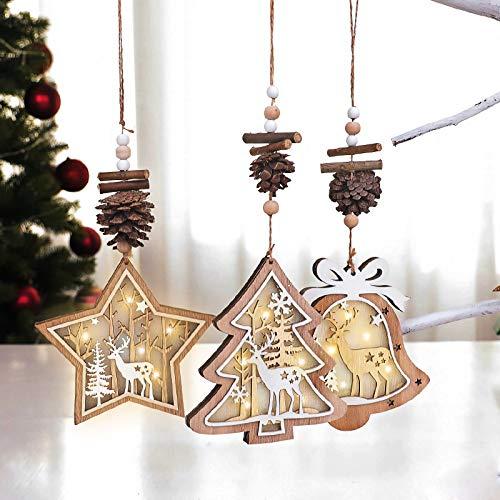 HOOMAGIC 3 Stücke Weihnachtsbaumanhänger Weihnachtsbaumschmuck Weihnachtsdekoration Holz Glühen Schneeflocken für Weihnachtsbaum
