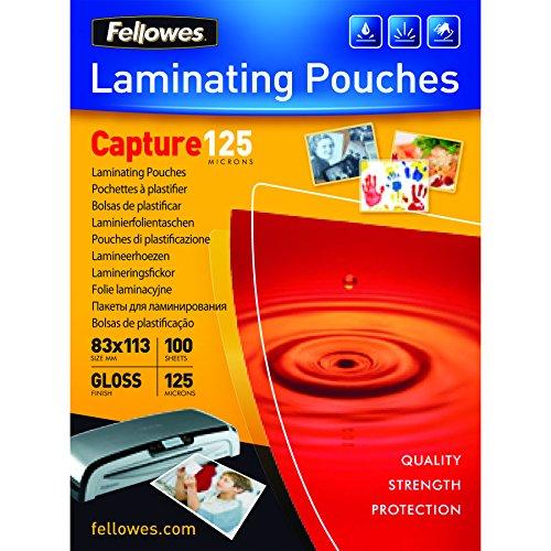 Fellowes 5307101 - Pack de 100 fundas para plastificar, 83x113 mm, acabado brillo, 125 micras