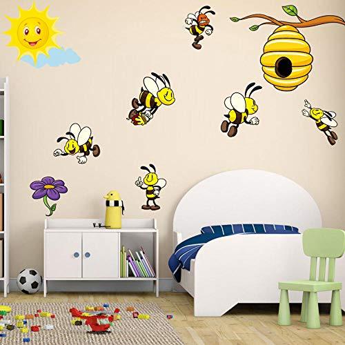 Terilizi Leuke Drukke Bijen Verzamelen Honing Muursticker Vinyl Decals Home Decor voor Kwekerij Baby Kinderen Kinderen Slaapkamer Woonkamer Mural