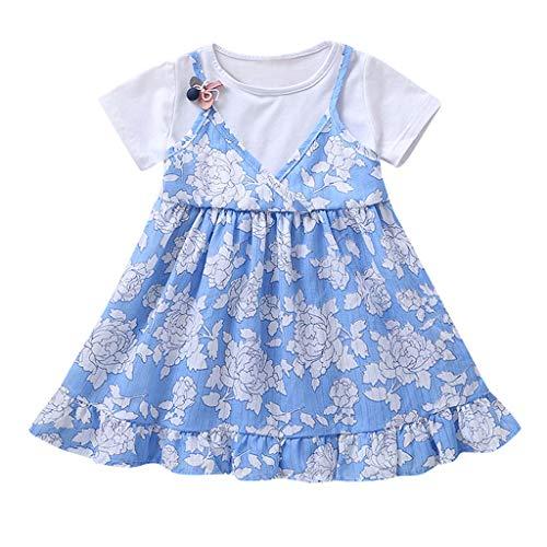 Julhold Peuter Baby Meisjes Leuke Elegante Eenvoudige Bandjes Bloemen Print Patchwork Jurk Prinses Casual SunDressrs 1-5 Jaar