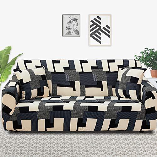 Funda de sofá con patrón de Costura geométrica y de Color, Utilizada para la Toalla del sofá de la Sala de Estar, Funda para Mascotas, Funda de sofá elástica A9 de 1 Plaza