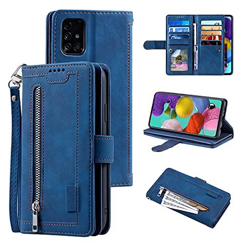 UEEBAI Hülle für Samsung Galaxy A52 4G/5G A52S 5G, Retro Reißverschluss Handyhülle PU Leder Handytasche Cover mit 9 Kartenfächer Standfunktion Geldbörse Trageband Schutzhülle Flip Wallet Hülle - Blau