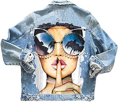 Shownicer Damen Jeansjacke Blau Taschen Einreiher Zerrissene Graffiti Langarm Oversize Boyfriend Mode Denim Jacket Mädchen Oberbekleidung B Hellblau XS