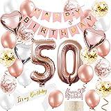 Happy 50th Birthday Party Decoration, Palloncino foil numero 50, 50th Birthday Sash Cake Topper Banner Palloncini, Forniture per feste di compleanno 50th in oro rosa