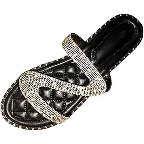 XBXDM Sandalias Planas para Mujer, Moda Mujer con pedrería Sandalias Antideslizantes con Incrustaciones Zapatillas Chanclas Zapatos de Playa y Piscina,Negro,37EU