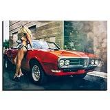 VVSUN HD Impreso Classic Muscle Car y Sexy Girl Poster Lienzo Pintura Arte de la Pared Imágenes Impresión para la Sala de...