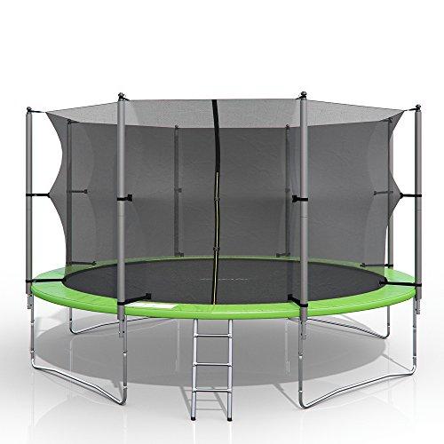 gympatec XXL Trampolin Gartentrampolin Komplettset mit Netz innenliegend Leiter Erdanker Spanngurte (430 cm)