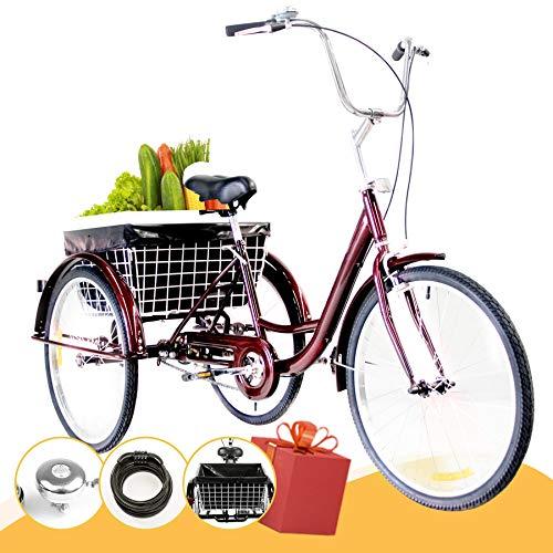 Z ZELUS 24' Triciclo para Adultos Bicicleta de Tres Rueda con Capacidad de 100 kg Triciclo con Cesta Adult Tricycle para IR a Hacer Compra, Deporte, Picnic (Rojo)