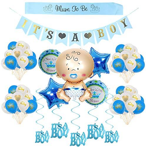 Crazy-M Its a Boy babyshower deko, Babyparty Deko für Junge/Baby Dusche Dekoration Ballons/ its a Boy Banner+5 Heliumballon Baby Folienballon+18 Latexballons, Mum to be Schärpe, 6 Hängende Wirbel