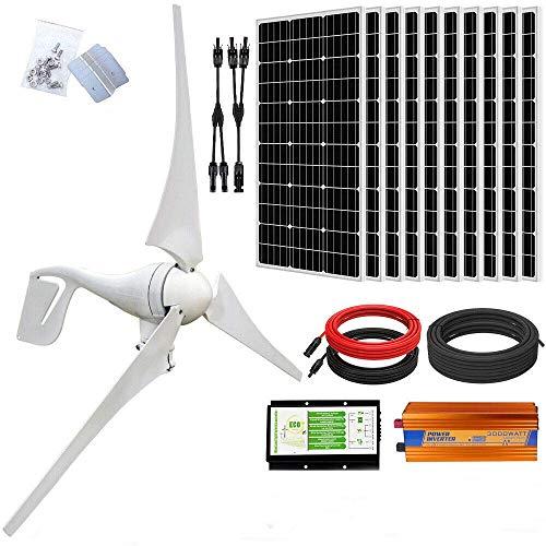 ECO-WORTHY Kit solar eólico de 24 voltios 1400 vatios: aerogenerador de 400 W + 10 paneles solares monocristalinos de 100 W + inversor fuera de red de 3000 W 24 V-220 V para sistemas fuera de la red