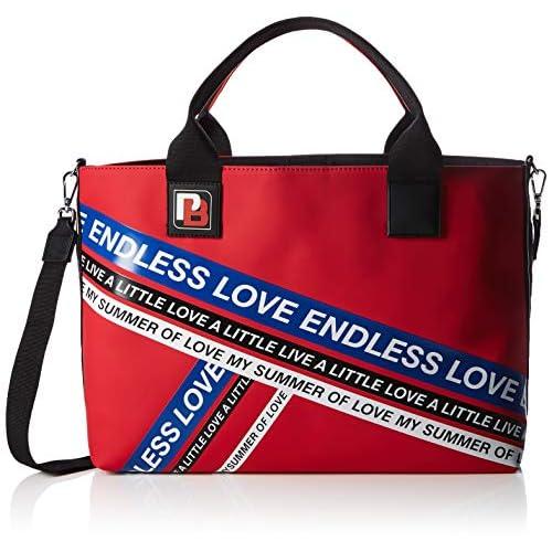Pinko Talento Shopping Gommato+Stampa Lucida, Borsa a Mano Donna, Multicolore (Rosso/Blu), 15x42x39 cm (W x H x L)