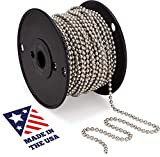 #10 Beaded Ball Chain – Nickel Plated Steel 100 Feet Spool for Vertical Window Blinds | ...