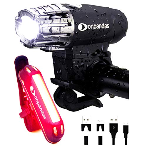 Donpandas USB Rechargeable LED Bike Light Set, Runtime 8+ Hours 400 Lumens Headlight Front Lights and Runtime 6+ Hours 160 Lumen Back Rear Tail Light, Fits All Bicycles, Cycling, Road, MTB, Mountain