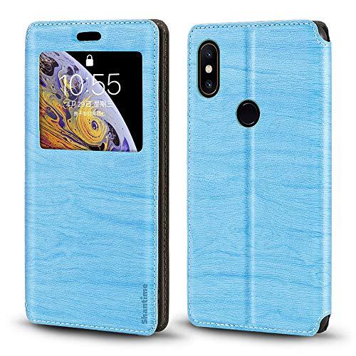 Capa Xiaomi Mi Mix 2S, capa de couro de grão de madeira com porta-cartão e janela, capa flip magnética para Xiaomi Mi Mix 2S (azul celeste)