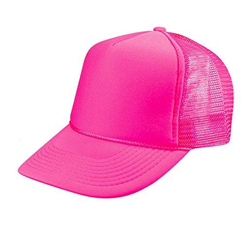 2 Packs NEON Baseball Caps Blank Trucker Hats Summer Mesh Bachelorette Caps (2 for Price of 1) (NEON - Pink)