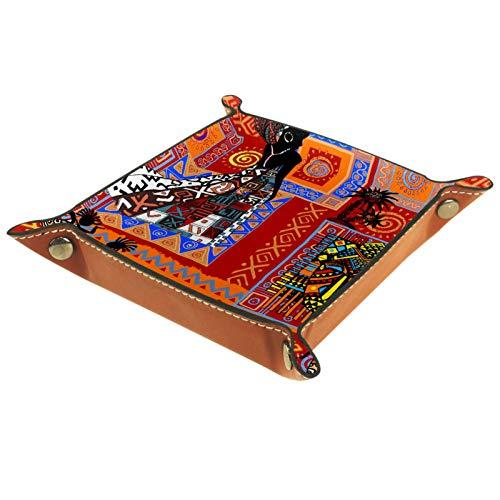Tablett Leder,Ethnische Muster afrikanische Frau,Leder Münzen Tablettschlüssel für Schmuck,Telefon,Uhren,Süßigkeiten,Catchall-Tablett für Männer & Frauen Großes Geschenk