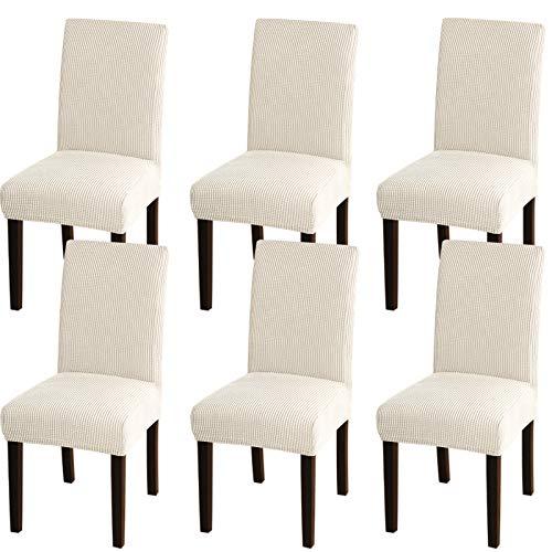 Turquoize - Juego de fundas elásticas para sillas de comedor, sillas Parsons, fundas protectoras, desmontables y lavables, para comedor, hotel, ceremonia