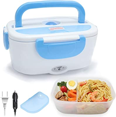 TLOG Electric Lunch Box, Portable Food Heater for Car and Home Dual Use, 1.5L BPA Free Food Grade Material Food Warmer with Spoon and 2 Compartments (Blue)