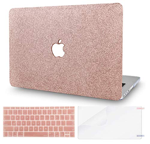 KECC MacBook Air 13' Case w/UK Keyboard Cover + Screen Protector A1466/A1369 (Rose Gold Sparkling)
