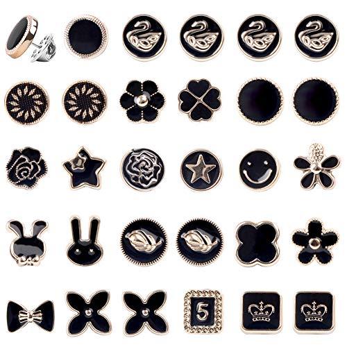 Hileyu 30 Stück Frauen Shirt Brosche Knöpfe,Cover Up Button Pin Sicherheit Brosche Knöpfe,Magnetische Hijab Pins,Verhindern Versehentliche Belichtung Knöpfe Brosche Pins für Kleidung Kleidungsbedarf.
